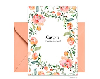 "Custom 5""x7"" note card, Wife Mom Boss greeting card, Personalized floral card Beautiful A7 card + envelope, Watercolor greeting card"
