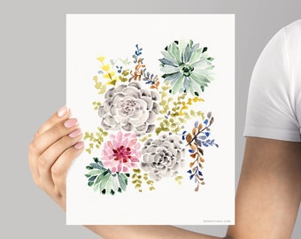 High Quality Art Print, Giclée Watercolor print, Archival Art Print, Frame NOT included, Succulent Garden Artwork, Watercolour Print