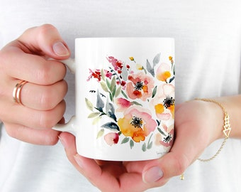 Cute Coffee Mug, 11oz and 15oz Coffee Mug, Unique Floral print Tea Mug Watercolor Floral Mug Ceramic Coffee and Tea Mug perfect gift item