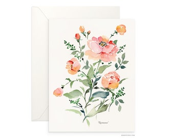 "Roseanne 5""x7"" folded blank card, beautiful watercolour floral design, archival greeting card for any occasion by Senay design Studio"