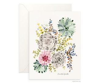 "Succulent Garden 5""x7"" folded blank card, beautiful watercolour floral, archival greeting card for any occasion by Senay, envelope included"