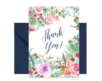 "Thank you 5""x7"" note card, Custom greeting card, Personalized watercolour card, Beautiful card + envelope, Watercolor greeting card"