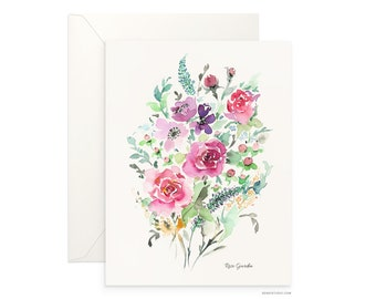 "Rose Garden 5""x7"" folded blank card, beautiful watercolour floral design archival greeting card for any occasion by Senay, envelope included"