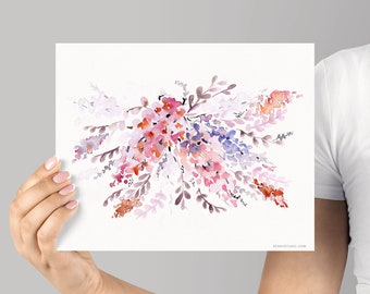 Art Print Pink Lilacs Giclée Watercolor print, Archival Art Print, Frame NOT included, Senay Studio Abstract Floral, Watercolour Wall Art