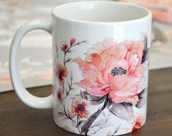 Coffee and Tea mug, 11oz and 15oz available,  Watercolour Peony Coffee Mug, Floral Coffee Mug, Perfect gift for friends