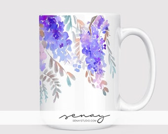 Coffee Mug 15oz and 11oz available | Wisteria Watercolour Design | Coffee and Tea Ceramic Mug | all over print, perfect gift item