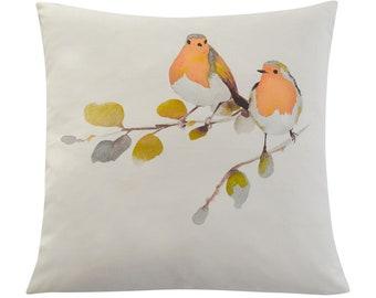 Clearance SALE - 26x26 Linen Sham 1 available Watercolor Robin Birds Pillow Cover Decorative Linen Cushion Cover, Handmade toss pillow cover
