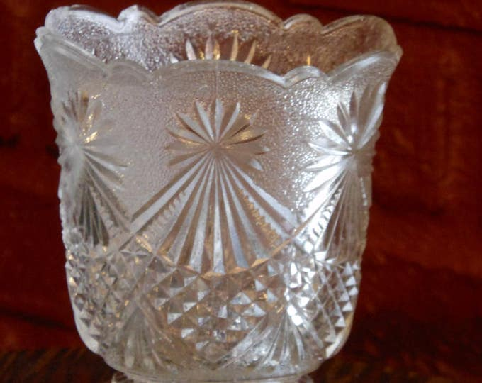 Cut Glass Frosted Scuttle