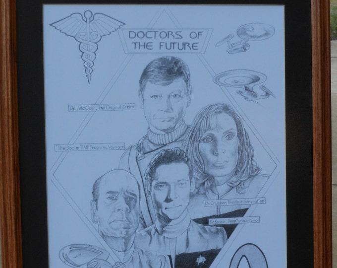"""Doctors of the Future. Pencil Drawing of """"Star Trek"""" Physicians"""