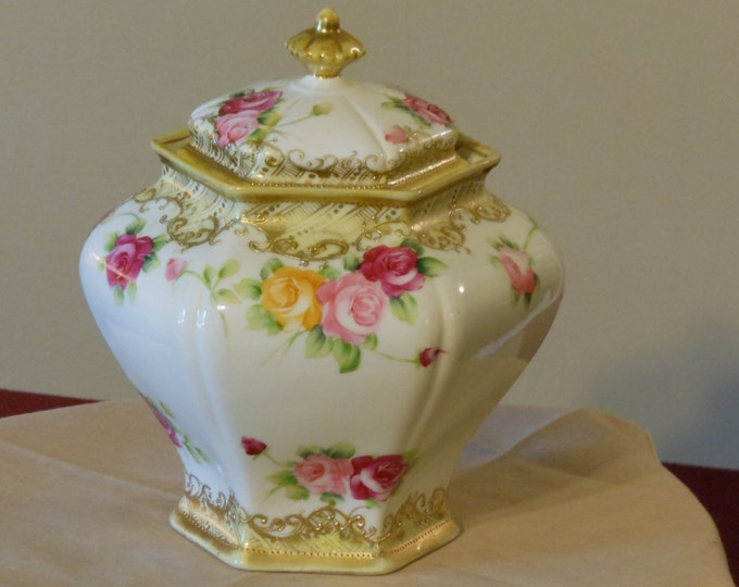 Antique Six-Sided Noritake Jar. Nippon.