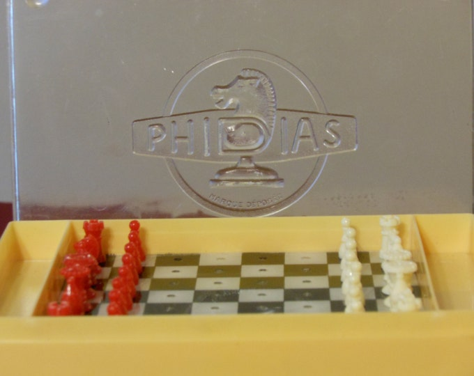 Combination Travel Peg Board Two-Sided Chess/Checkers Games. Phidias. France.