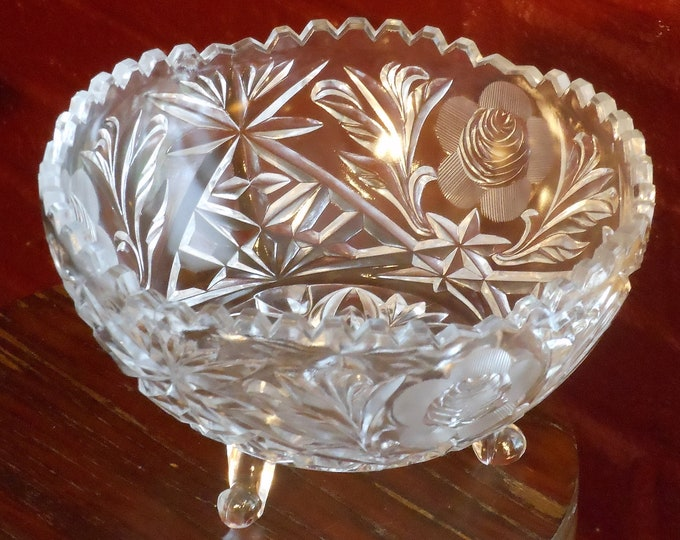 Three-Footed Cut Glass Crystal Bowl