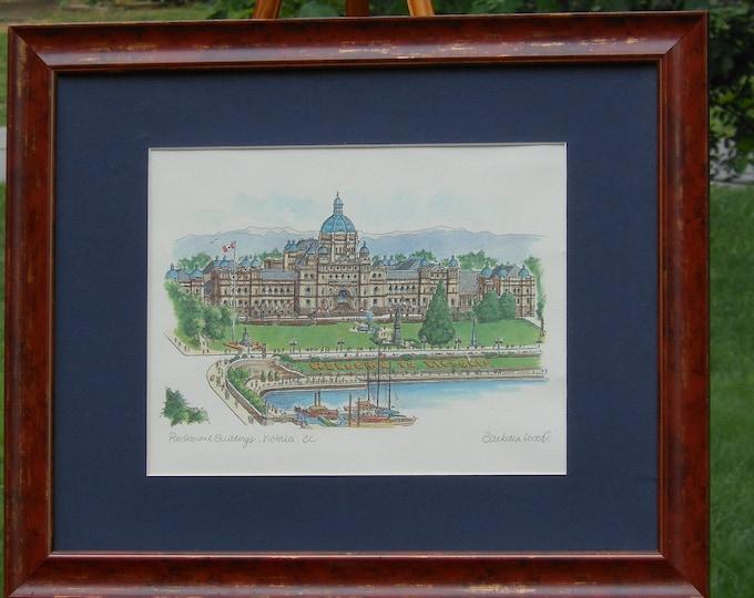 Barbara Wood Watercolor. Parliament Buildings: Victoria, British Columbia