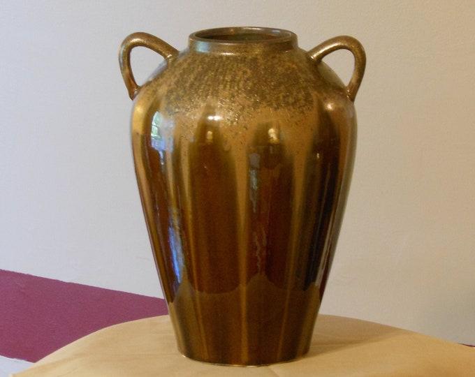 Vintage Brown Drip Pottery Vase