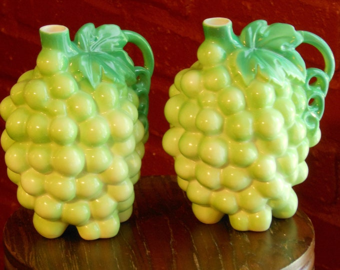 German Green Grapes Bud Vases (Damaged)
