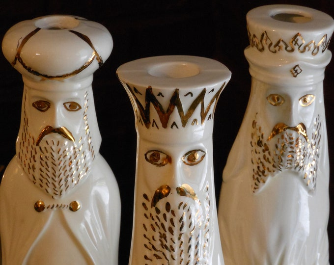 Three Tall Ceramic Magi Candle Holders