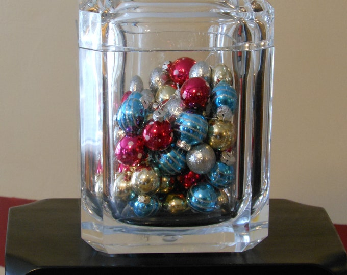 Large Acrylic Container with Small, Colorful Christmas Bulbs and Wooden Stand