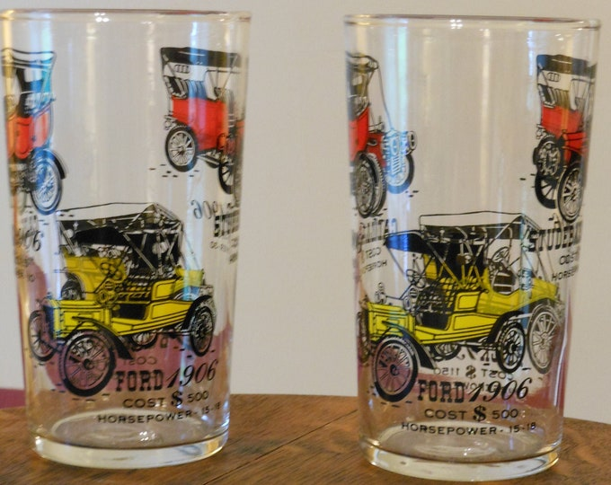 Two Matching Vintage Early Automobile Drinking Glassses