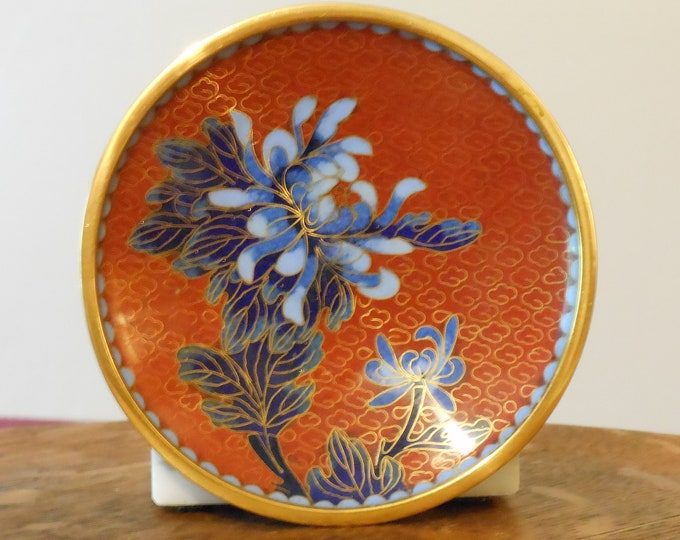 Vintage Chinese Enamel and Brass Saucer