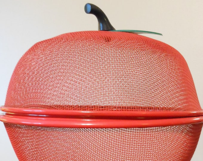 Metal Mesh Red Fresh Fruit Storage Bowl