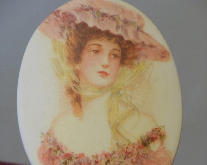 Victorian Lady Pottery Transfer Oval