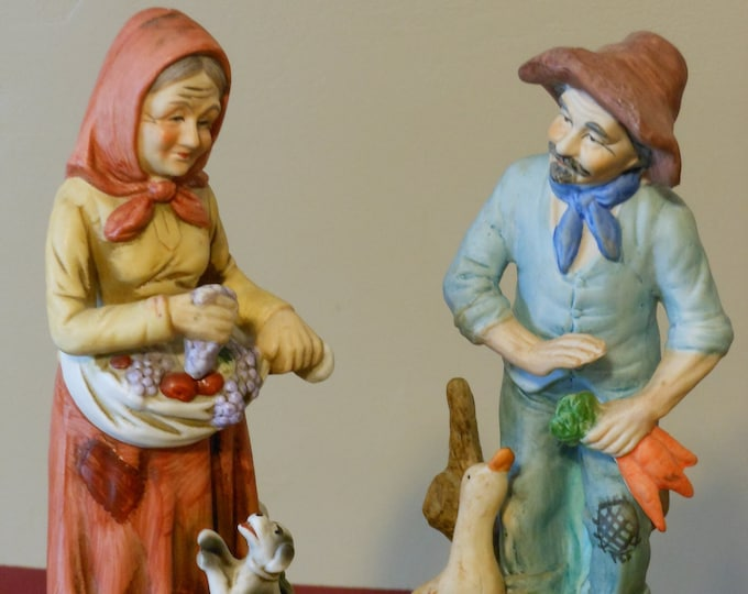 Vintage Male & Female Gardener Figurines