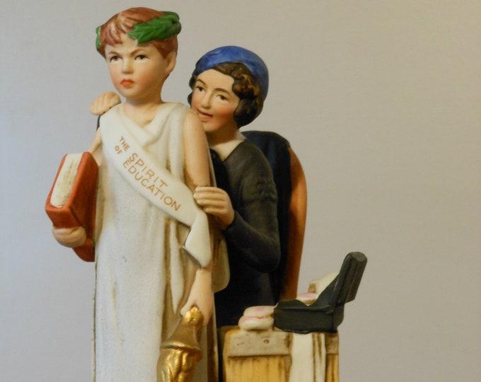 "Vintage Dave Grossman Designs Figurine Norman Rockwell's ""The Spirit of Education"""