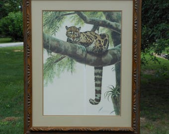 Guy Coheleach Clouded Leopard Signed Lithograph, Framed
