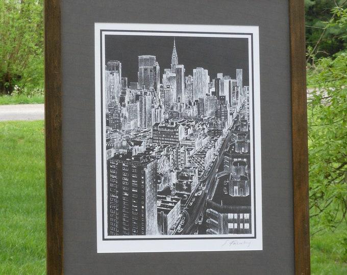 Hand-Signed Manhattan Skyline by Sandra Finkenberg