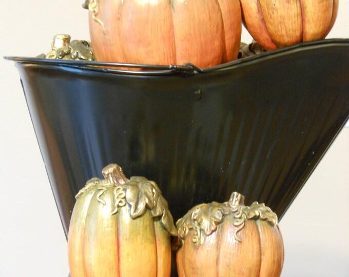 Seven Chalk Ware Pumpkins