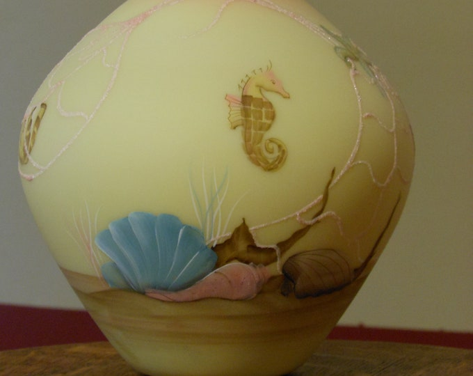 Fenton Hand Painted 8-inch Vase by D. Barbour (1985)