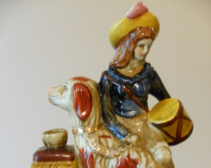 Large Vintage Figurine Woman with Dog
