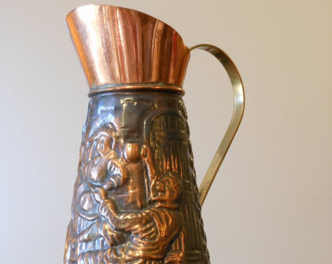 Vintage Embossed Solid Copper Dutch Pitcher