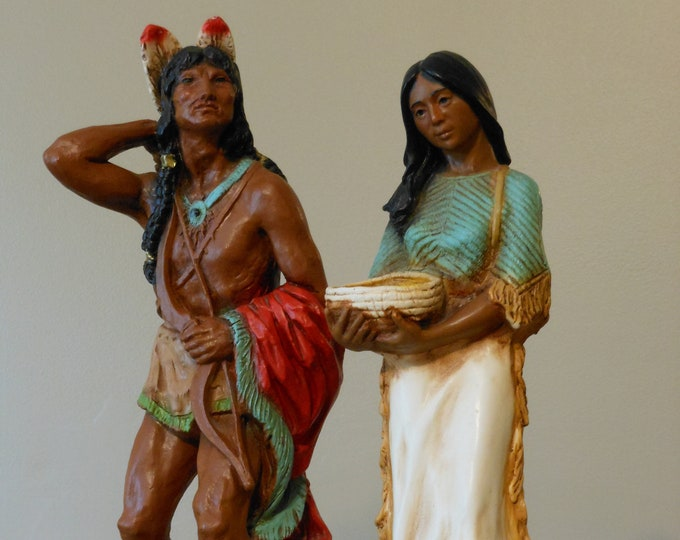 Male and Female Resin Homco Native American Family