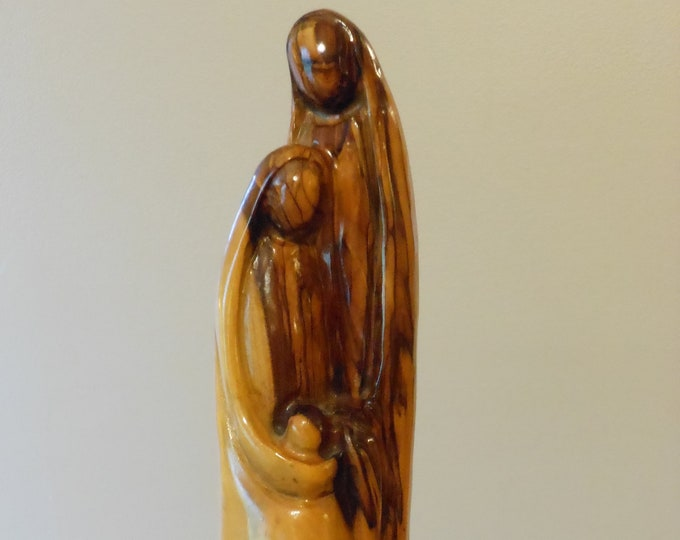 Vintage Tall Olive Wood Abstract Sculpture: Holy Family