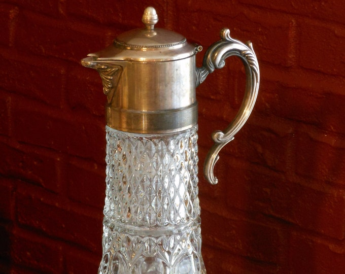Large Cut Crystal Carafe with Silver Plate Top & Handle