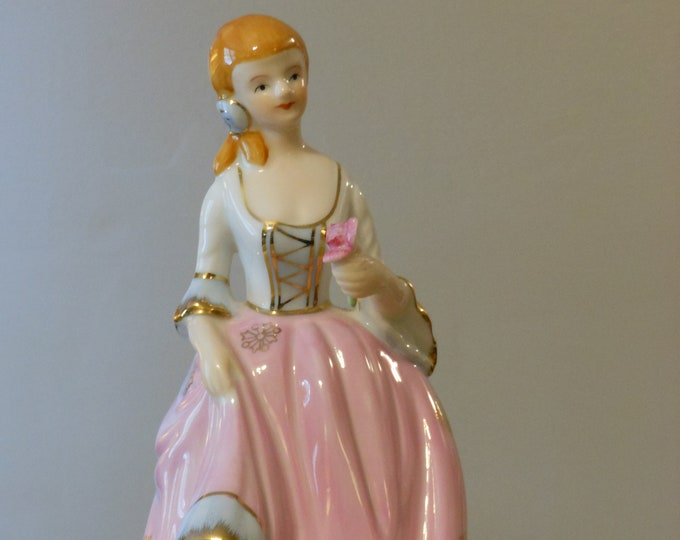 Woman Figurine, Pink with Gold Trim