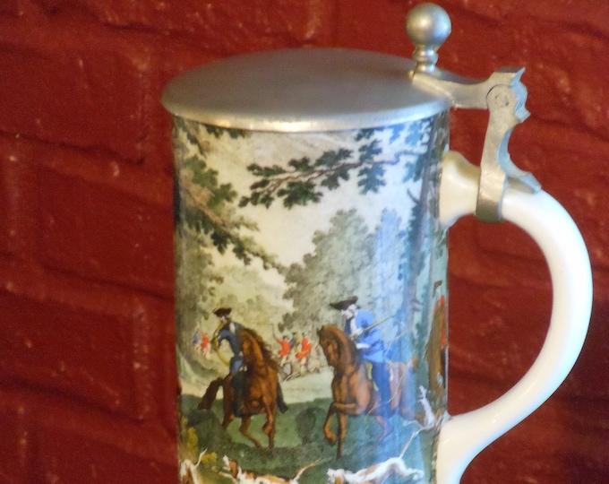 Ceramic Medieval Deer Hunting Beer Stein with Pewter Lid