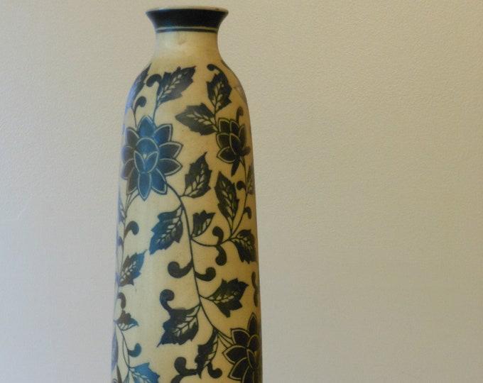 12-Inch Black Floral and Leaf Vase