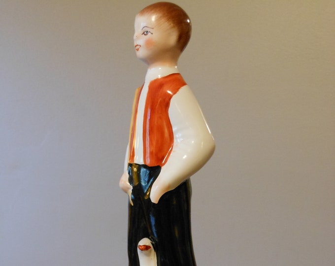 Vintage Hand Painted Figurine of Boy with Goose