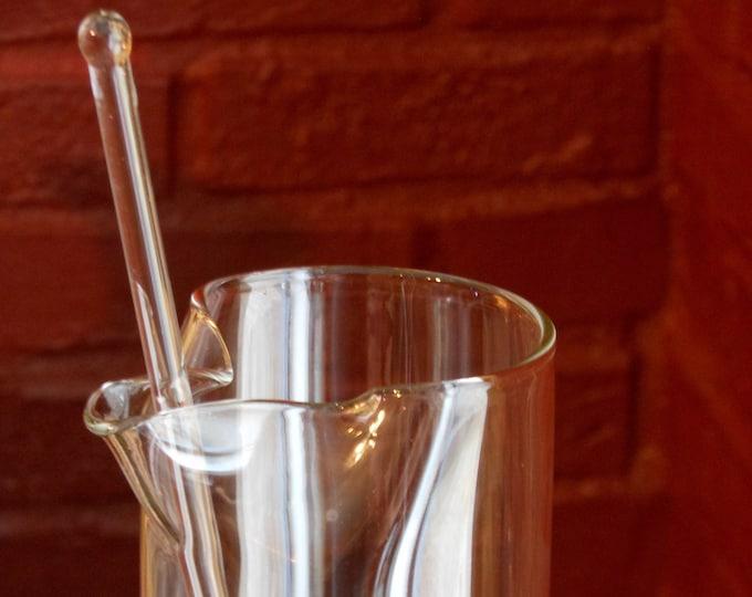 Tau Kappa Epsilon Red Carnation Ball Glass Martini Mixing Pitcher and Stirring Rod