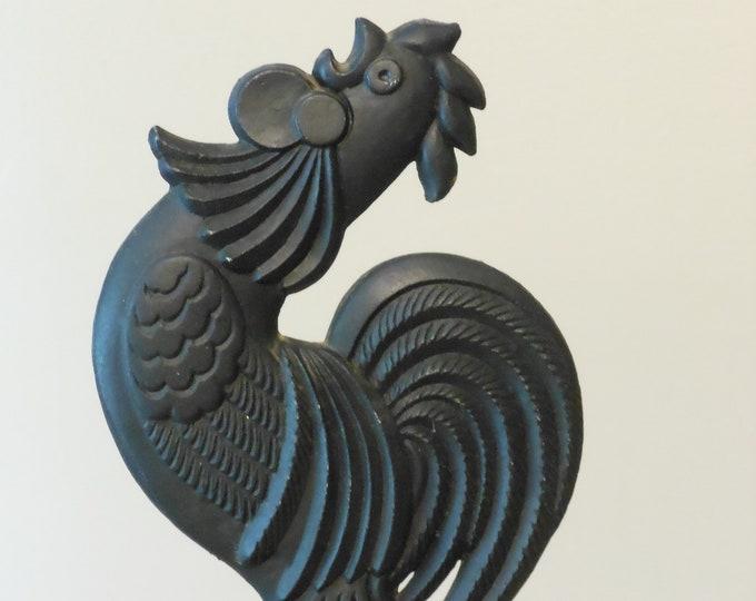 Black Cast Iron Rooster Door Stop