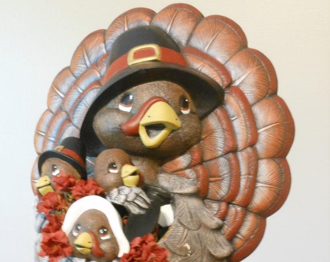 Turkey Mama and Little Baby Turkeys