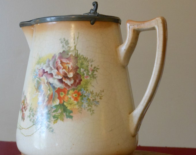 Antique Floral Design Pitcher with Pewter Lid