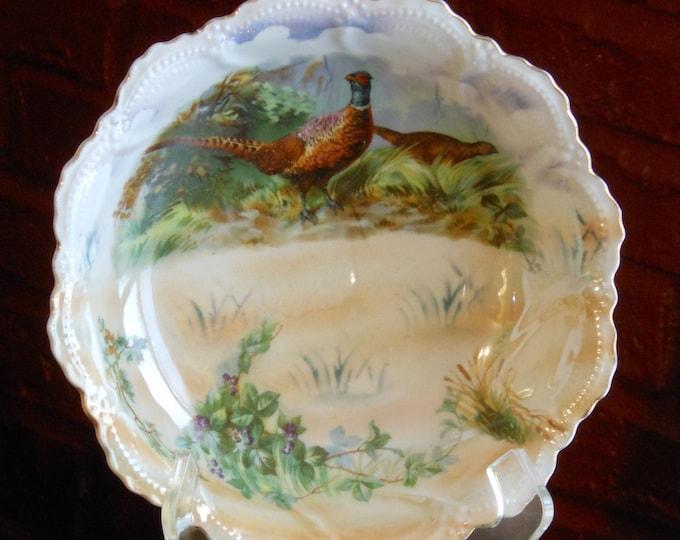 Hand Painted Embossed German Pheasant Bowl Leuchtenburg