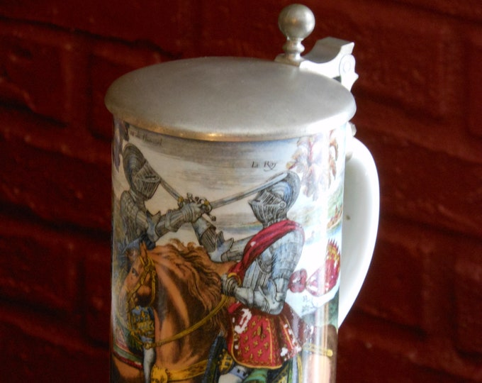 Ceramic Medieval Knights Beer Stein with Pewter Lid
