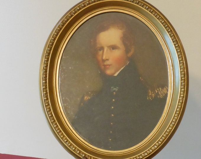 Portrait of Nineteenth Century Military Man in Oval Frame
