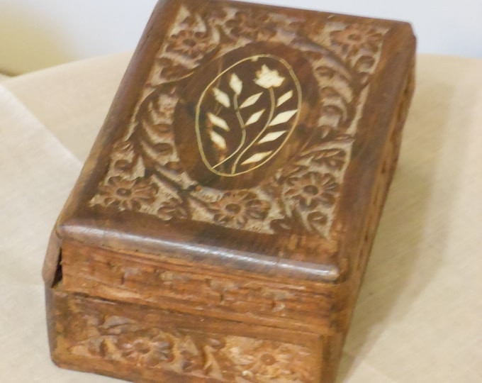 Vintage Carved and Lined Wooden Box