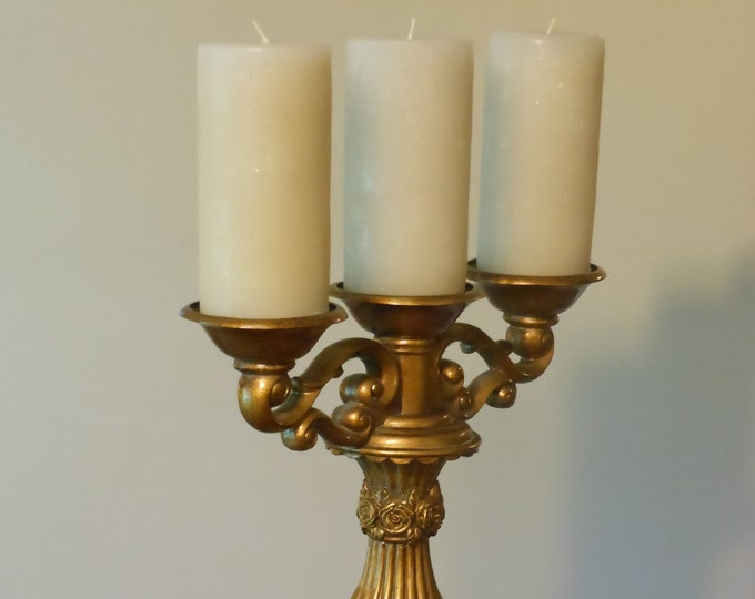 Tall Candelabra with Three Large Candles
