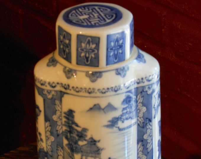 Blue & White Six-Sided Ginger Jar